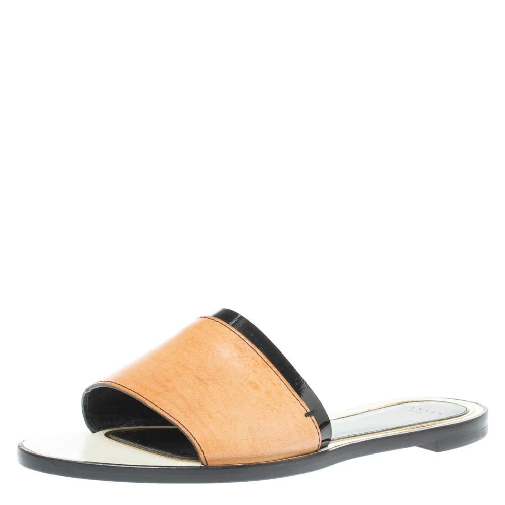 Lanvin Brown Leather Flat Slides Size 41