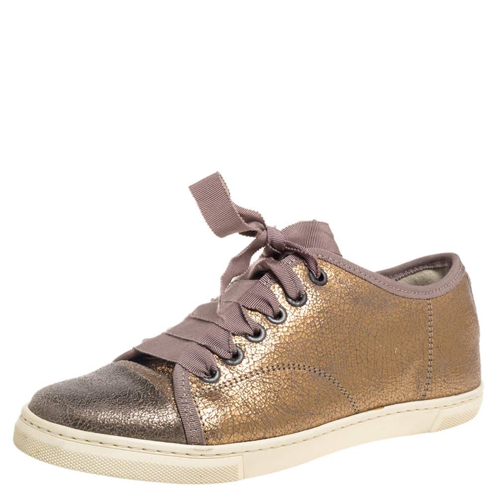 Lanvin Metallic Bronze Textured Leather Cap Toe Sneakers Size 36