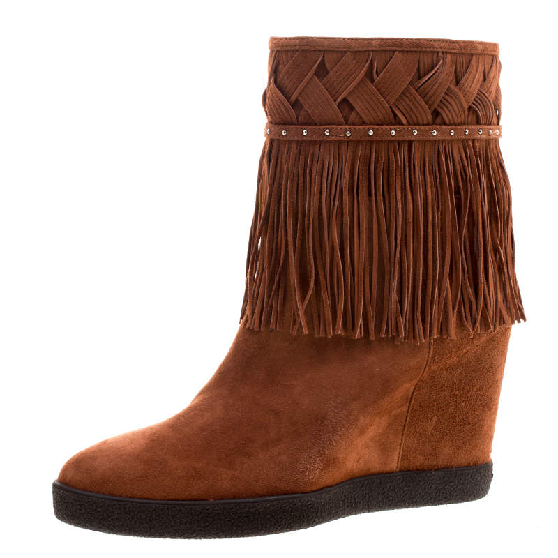 Le Silla Brown Suede Concealed Fringed Wedge Boots Size 40