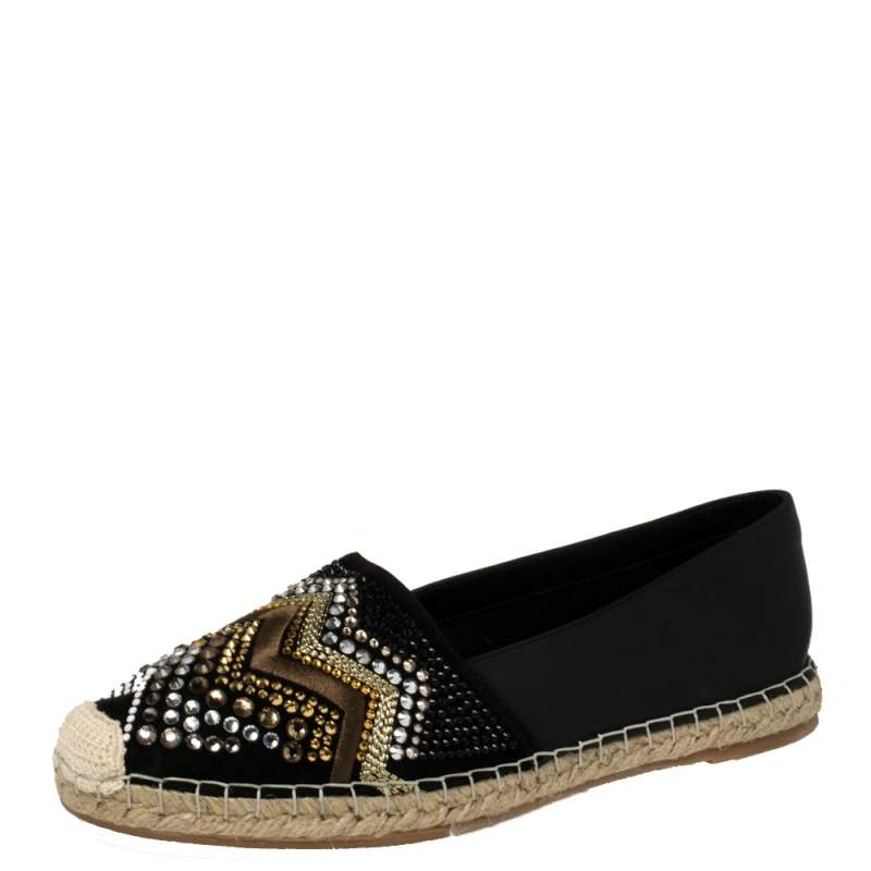 Le Silla Black Leather And Suede Embellished Espadrille Flats size 41