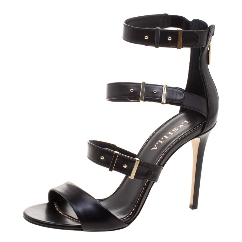 Le Silla Black Leather Minerva Strappy Sandals Size 38.5