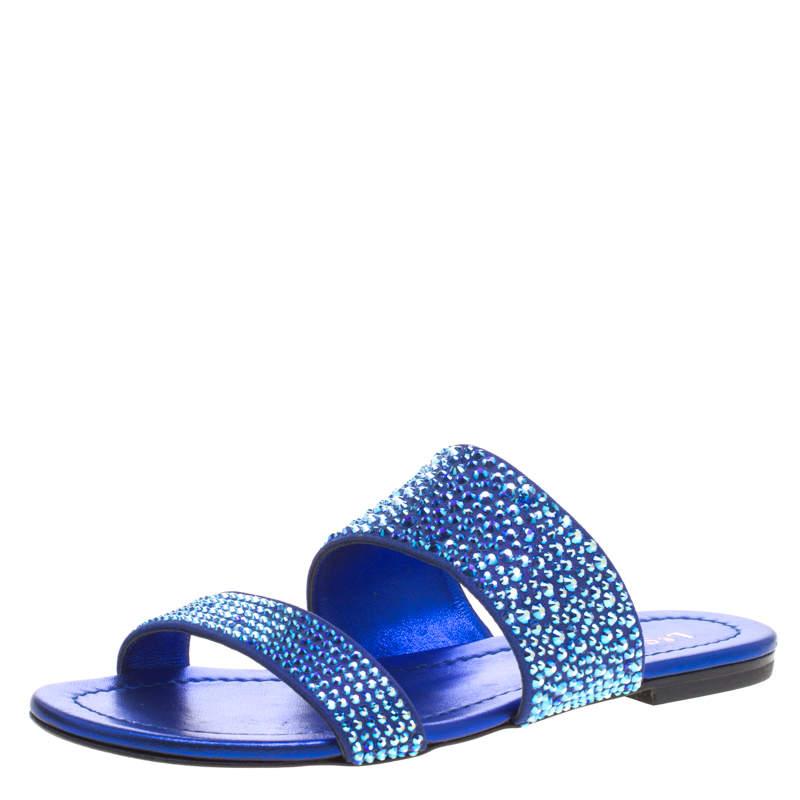 Le Silla Blue Crystal Embellished Suede Flat Slides Size 36