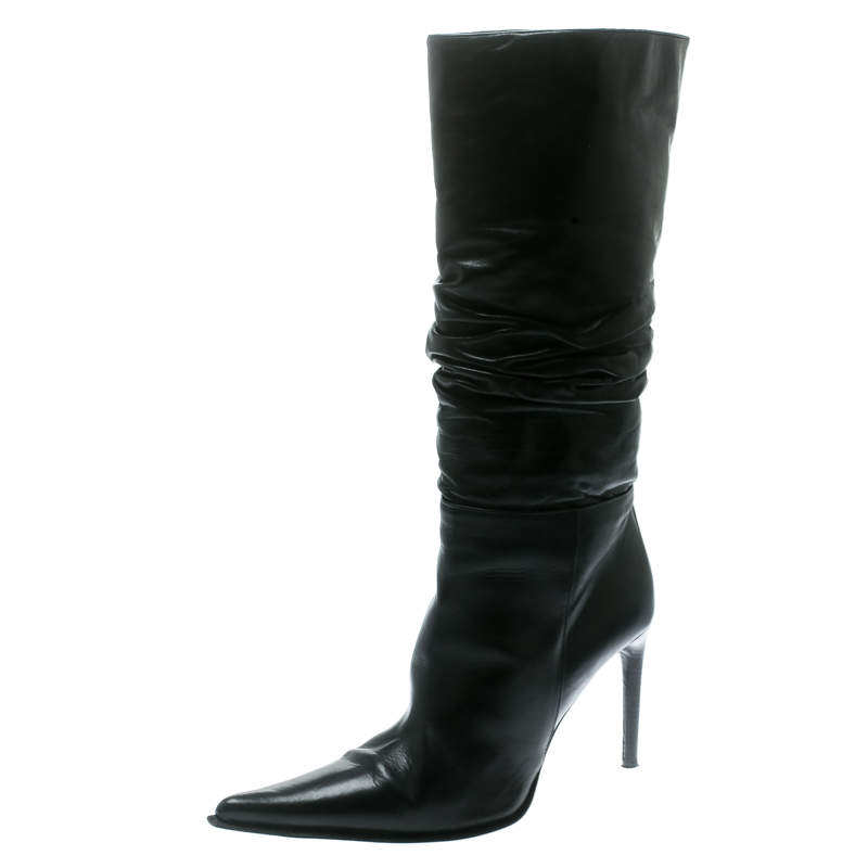 Le Silla Black Leather Rucched Detail Calf Length Pointed Toe Boots Size 38