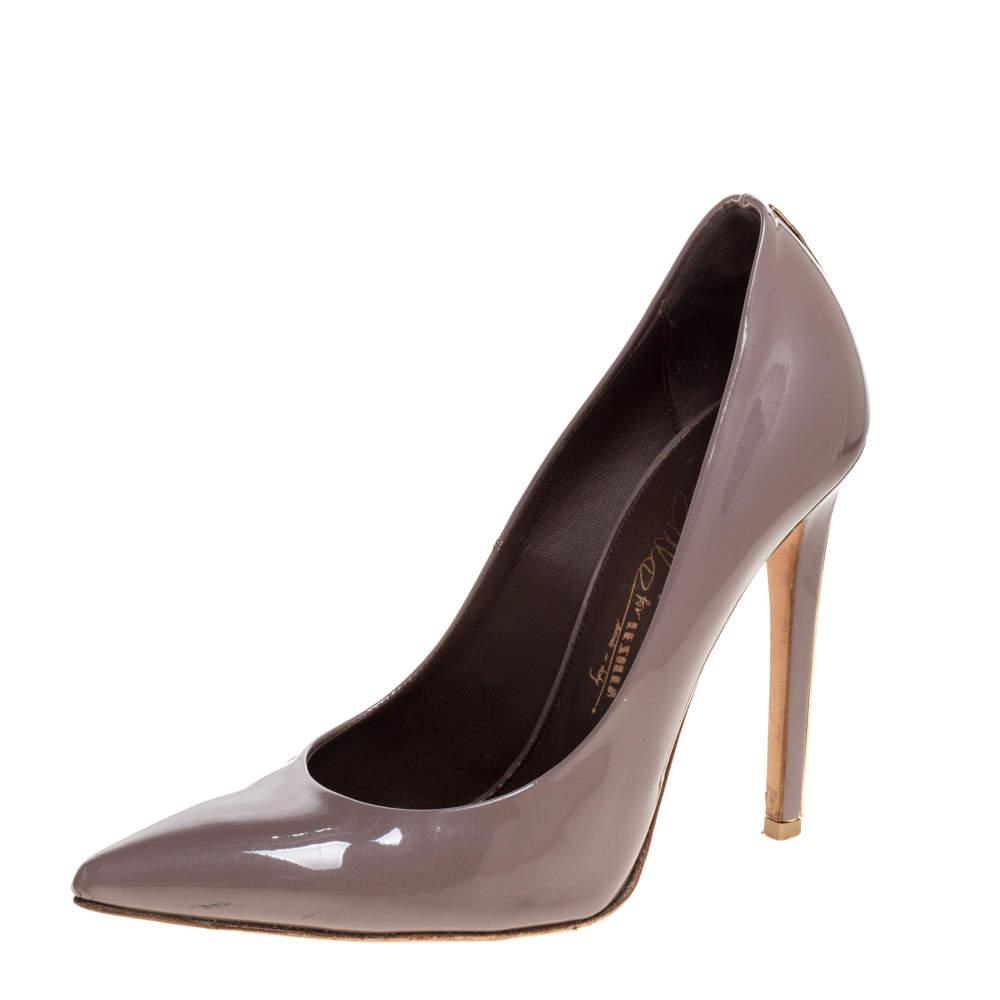 Le Silla Dark Grey Patent Leather Eva Pointed Toe Pumps Size 37.5