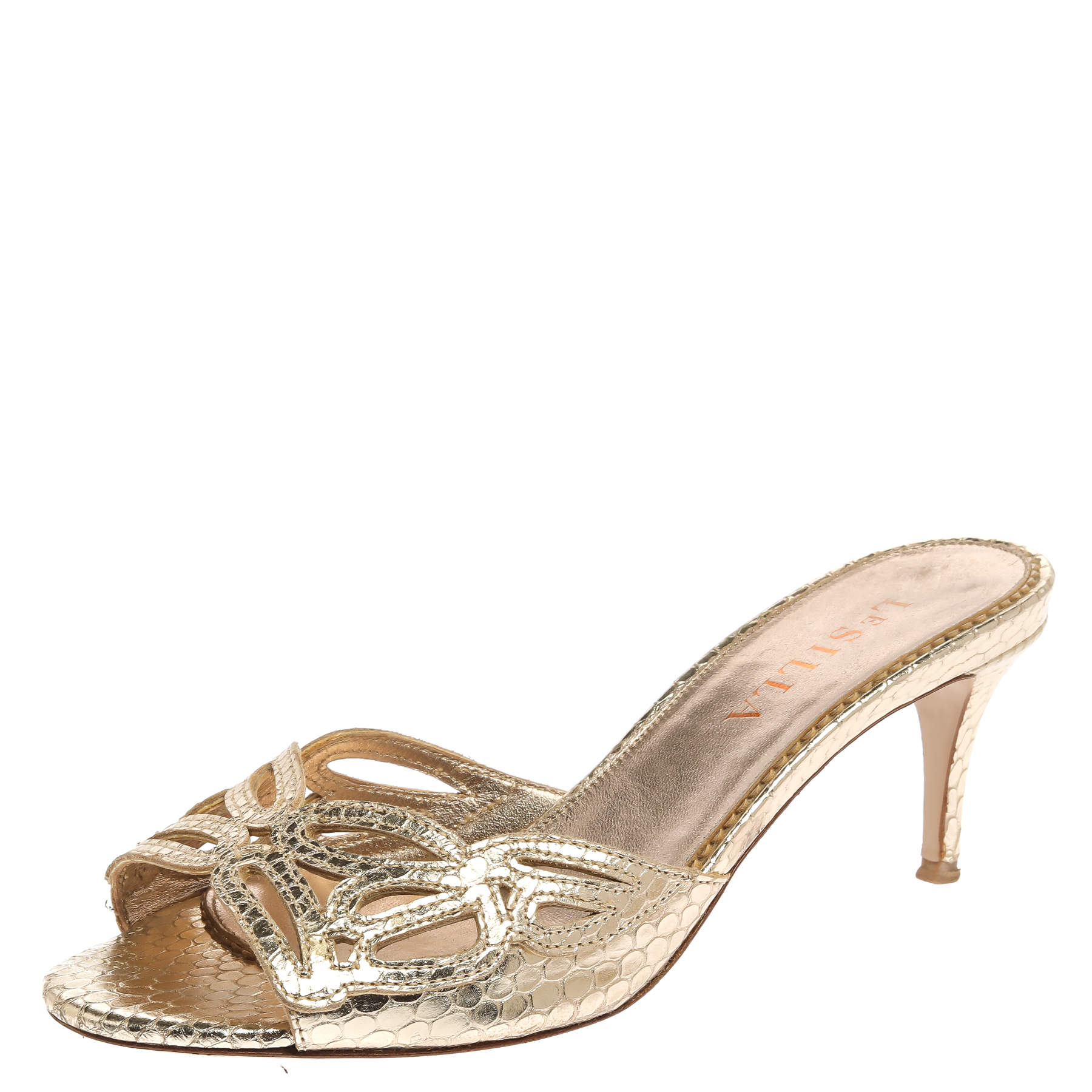Le Silla Golden Python Embossed Leather Laser Cut Slide Sandals Size 36