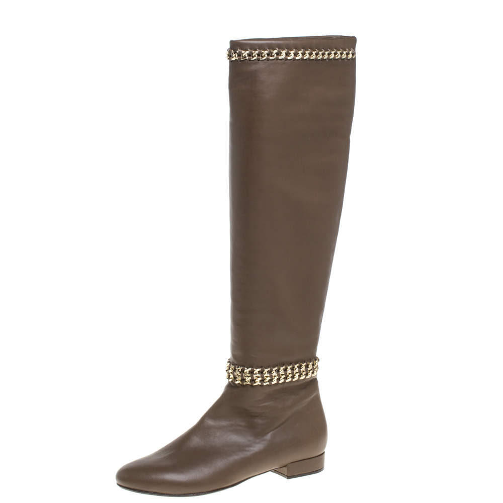 Le Silla Brown Leather Chain Detail Knee High Boots Size 37