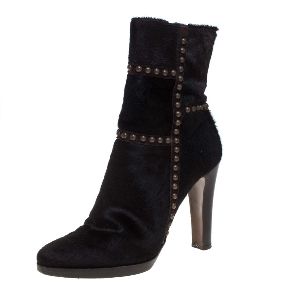 Le Silla Brown Calf Hair Studded Studded Ankle Boots Size 37