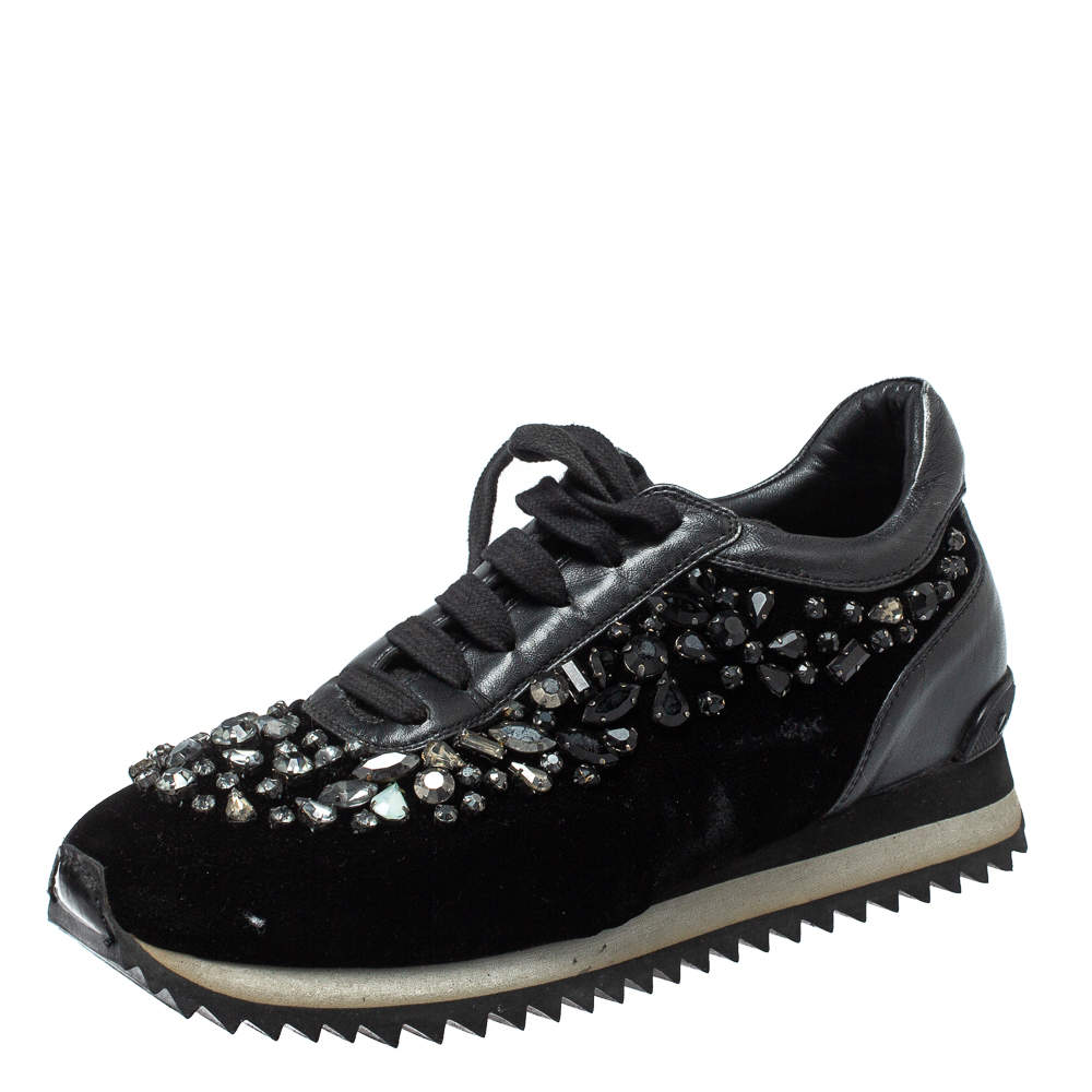 Le Silla Black Velvet and Leather Crystal Embellished Low Top  Sneakers Size 36.5