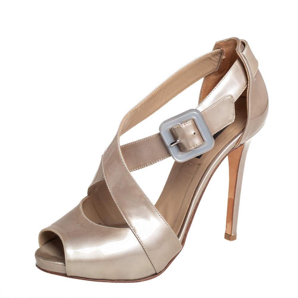 Le Silla Grey Patent Leather Platform Ankle Strap Peep Toe Sandals Size 37