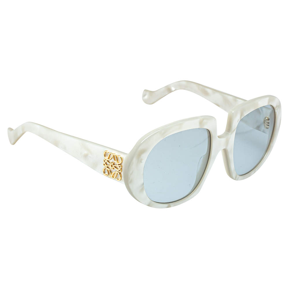 Loewe White Pearl /Light Blue LW40031 Round Sunglasses