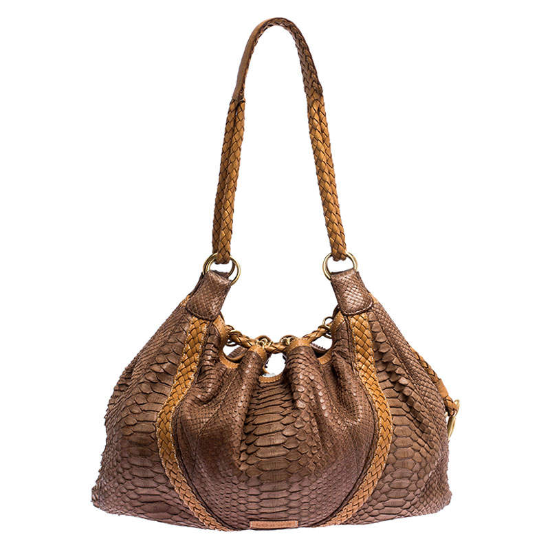 Loewe Brown/Tan Python Leather Drawstring Shoulder Bag