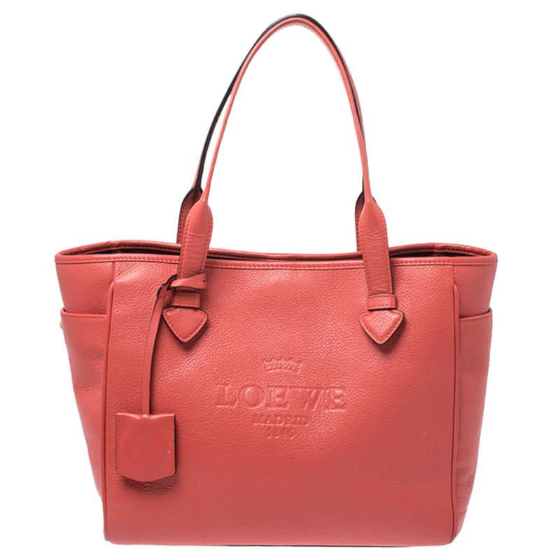 Loewe Coral Orange Leather Heritage Tote