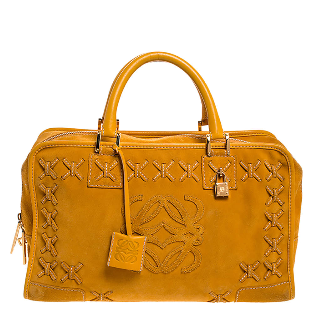 Loewe Yellow Leather and Suede Amazona 36 Tote