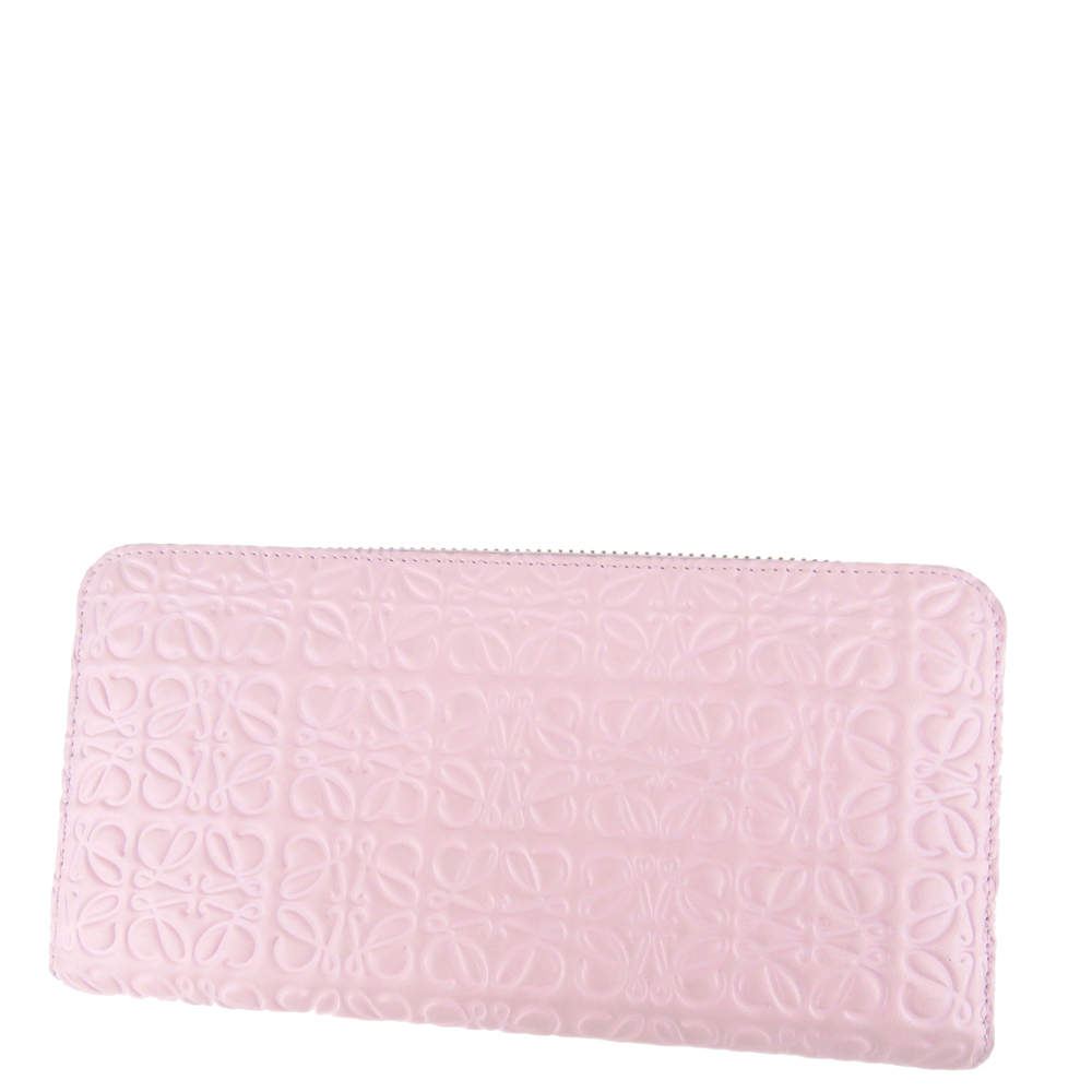 Loewe Pink Leather Anagram Zip Wallet
