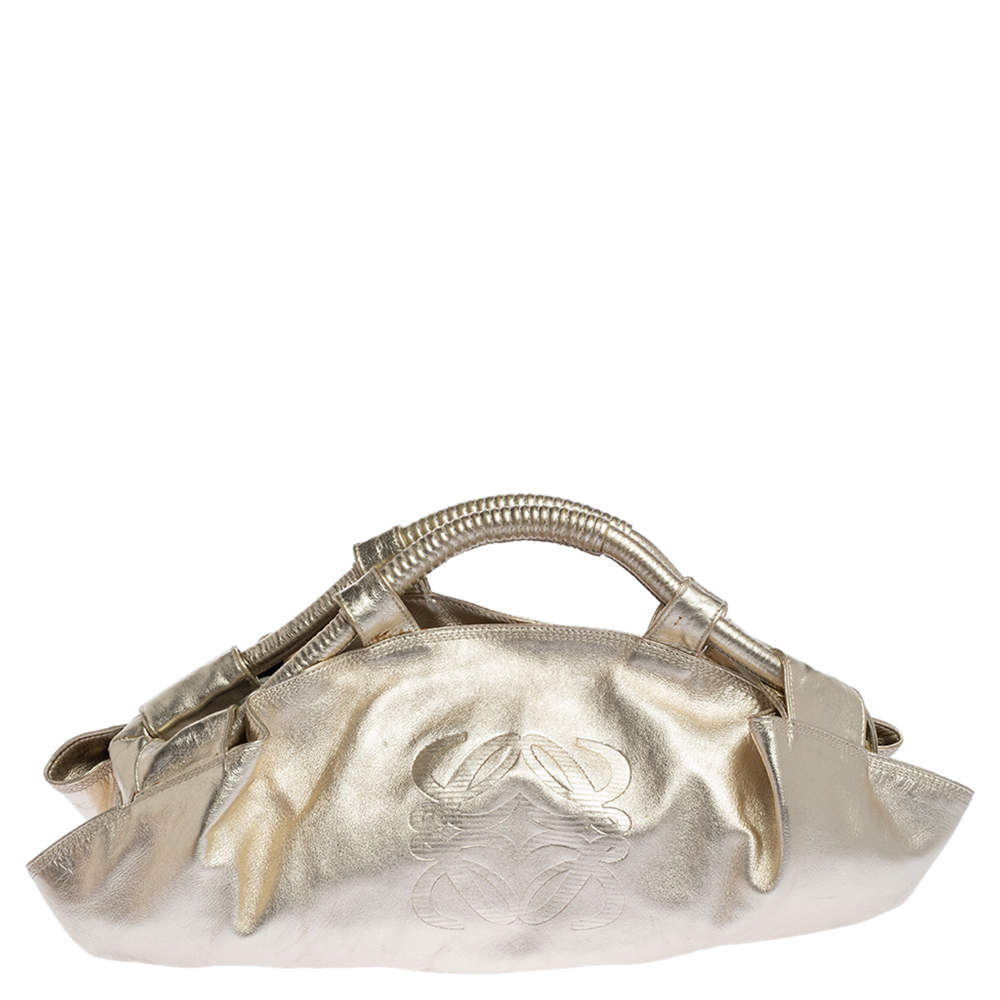 Loewe Metallic Gold Leather Aire Tote