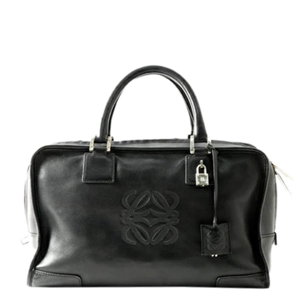 Loewe Black Leather Amazona 35 Boston Bag