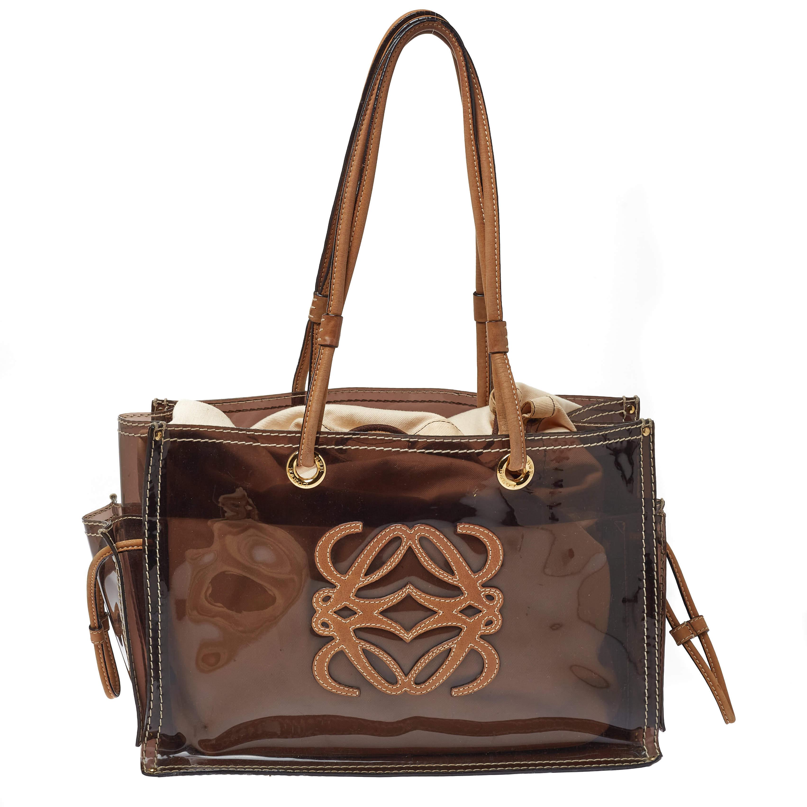 Loewe Brown PVC and Leather Amazona Tote