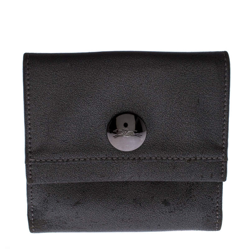 Longchamp Metallic Grey Leather Flap Button Compact Wallet