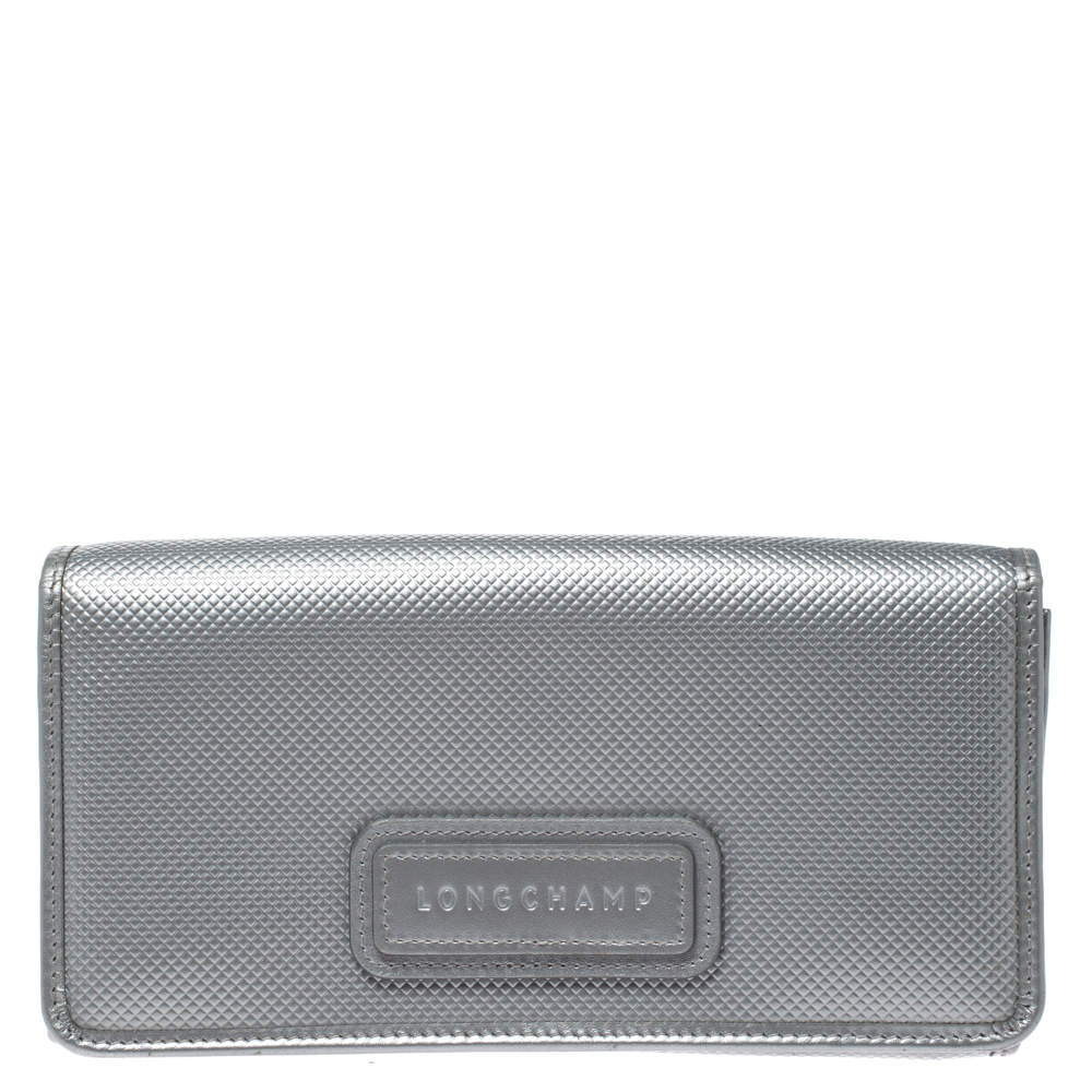 Longchamp Silver Textured Leather Continental Flap Wallet