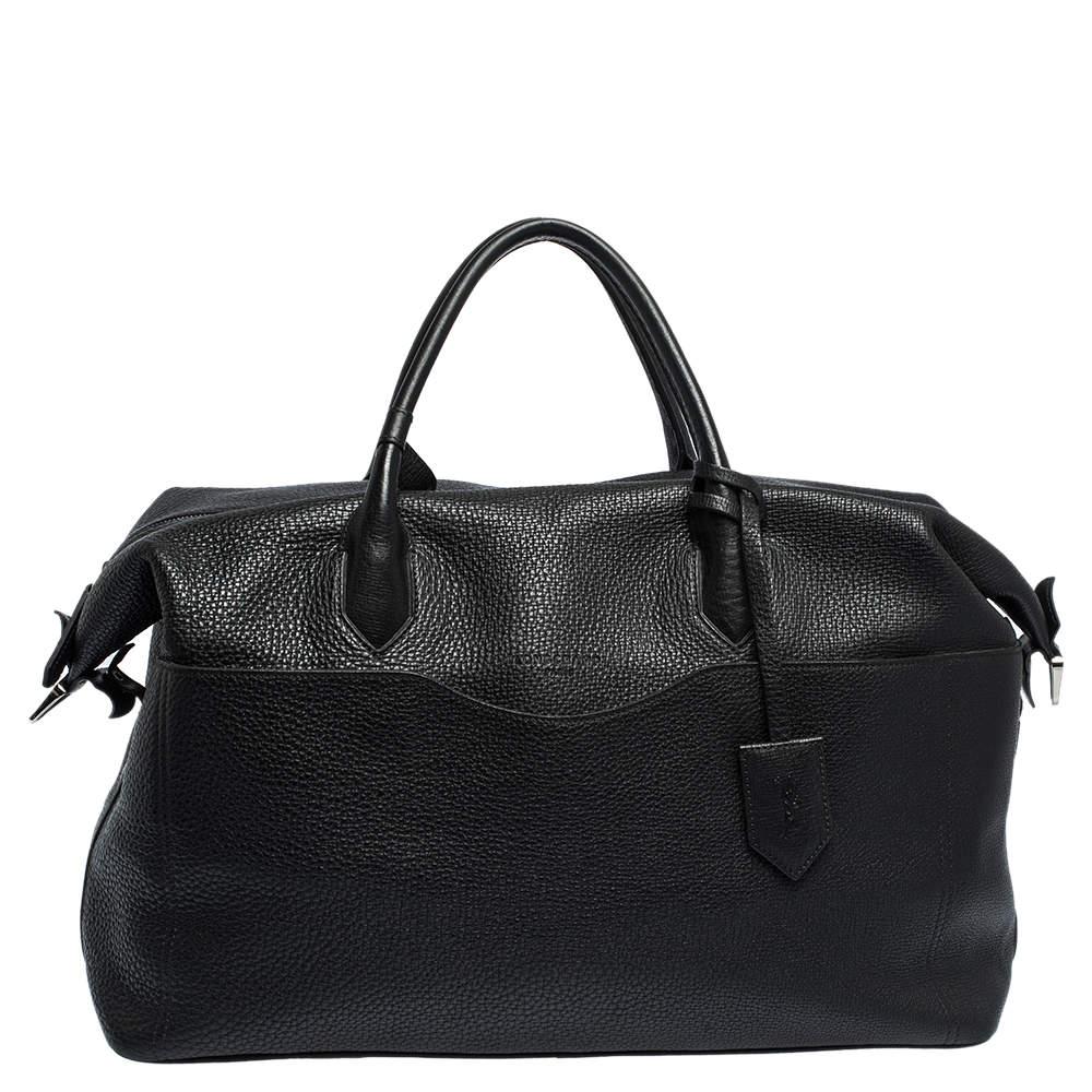 Longchamp Black Grained Leather Ulysse Duffel Bag