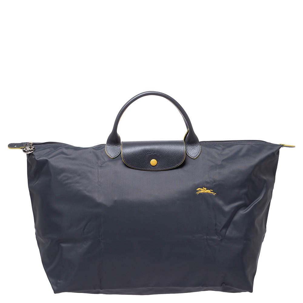Longchamo Grey Nylon and Leather Le Pliage Weekender Tote