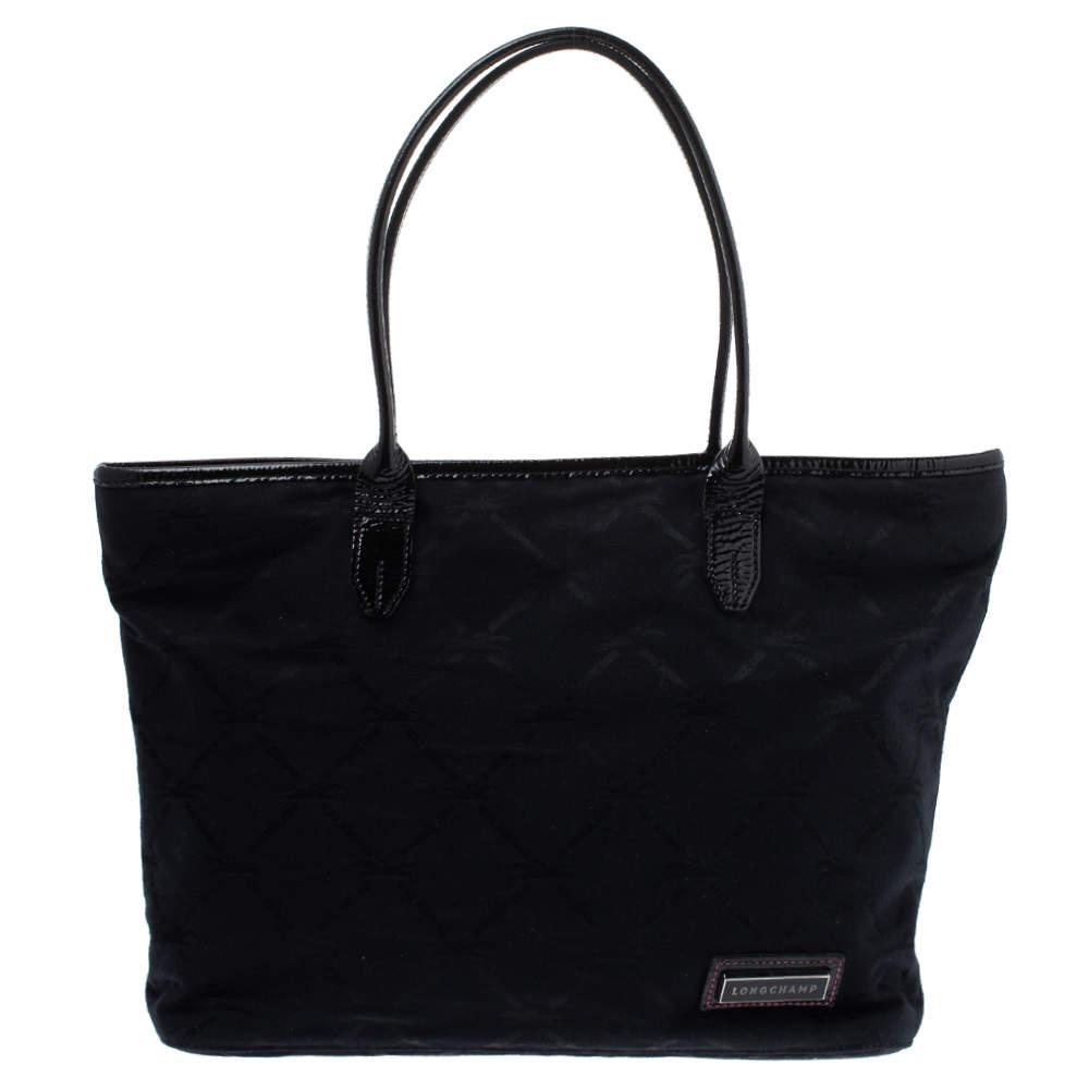 Longchamp Black Logo Embossed Canvas Tote