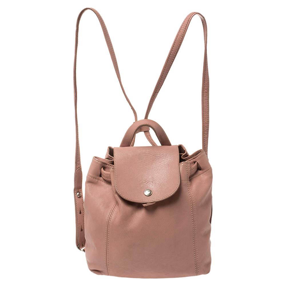 Longchamp Pink Leather Le Pliage Backpack