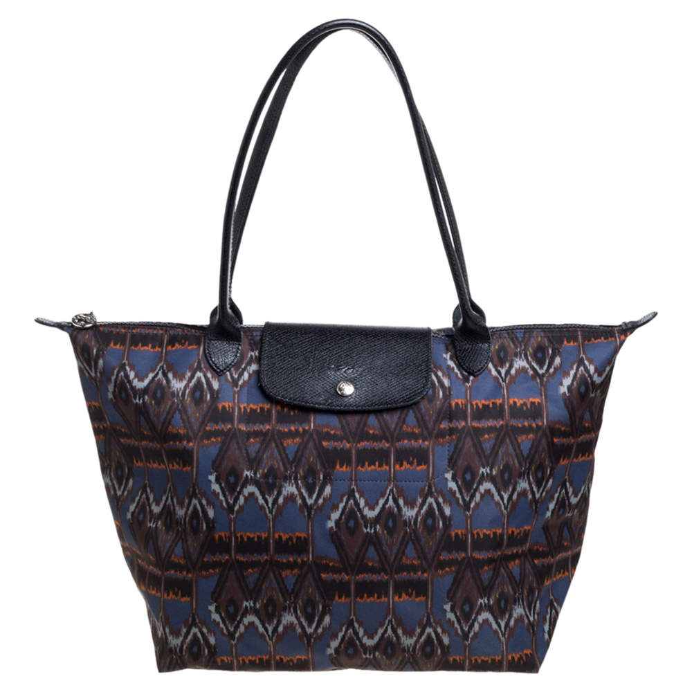 Longchamp Multicolor Print Nylon and Leather Le Pliage Tote
