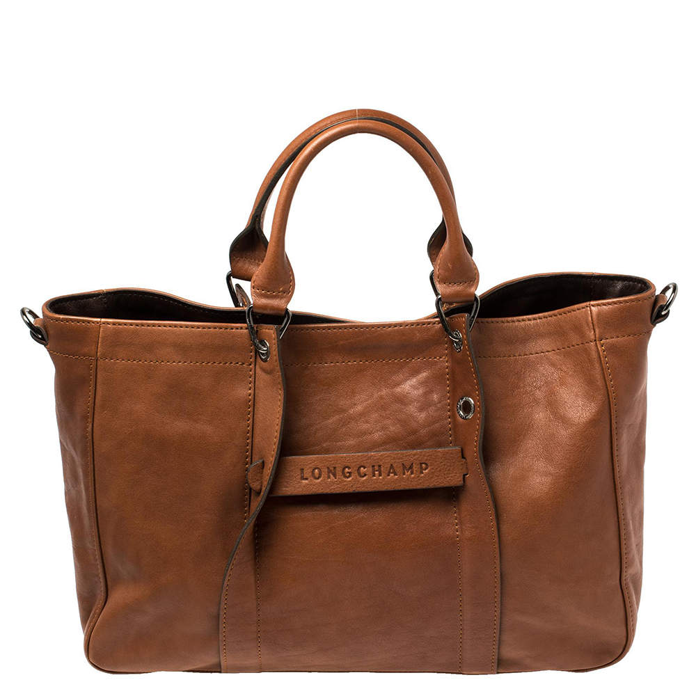 Longchamp Brown Leather Large 3D Tote