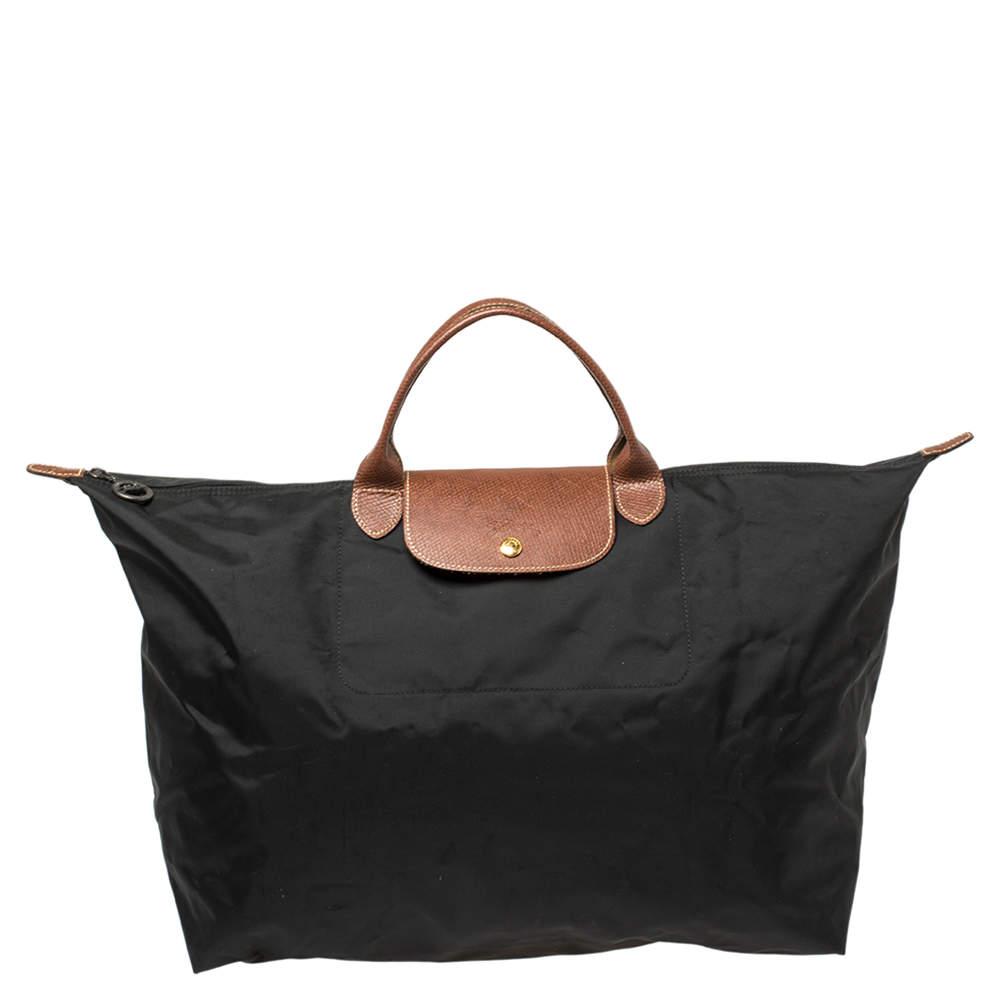 Longchamp Black Nylon Le Pliage Travel Tote