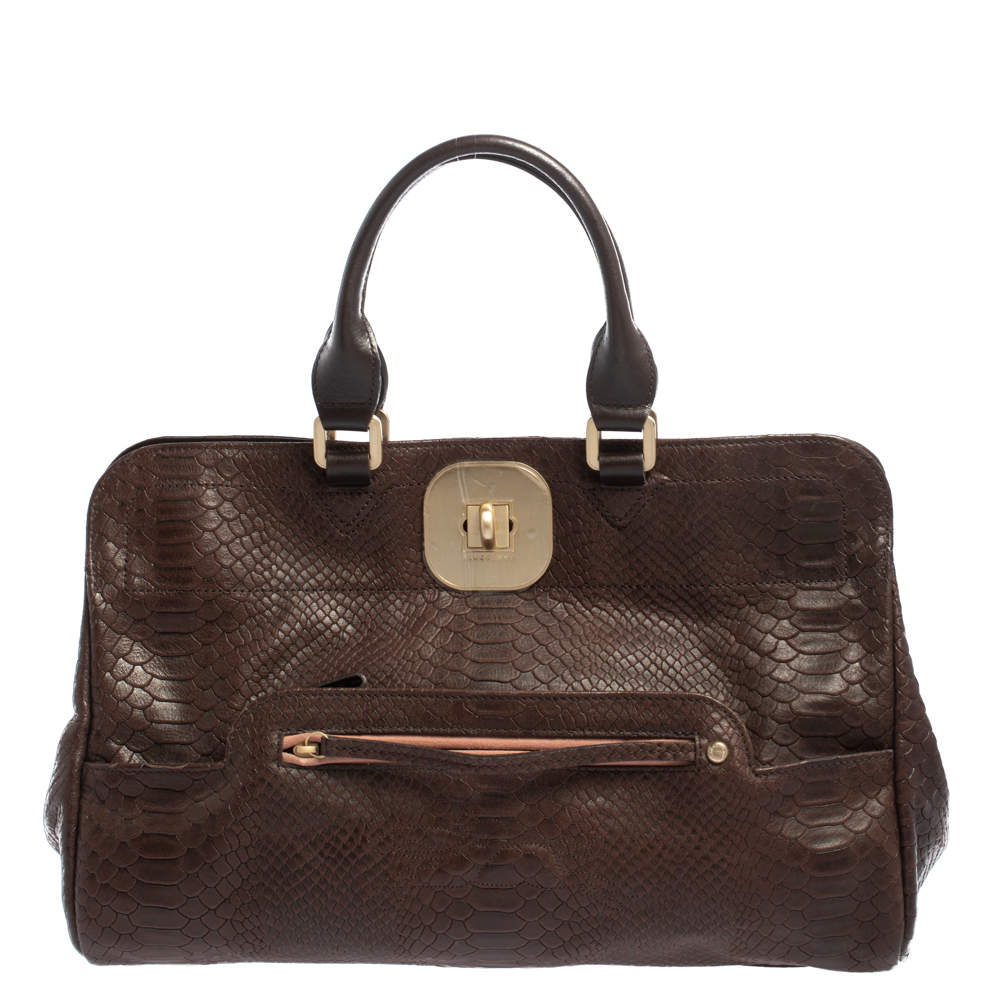 Longchamp Dark Brown Python Embossed Leather Gatsby Tote