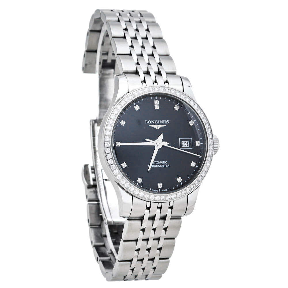 Longines Black Stainless Steel Diamonds Record L2.321.0.57.6 Women's Wristwatch 30 mm