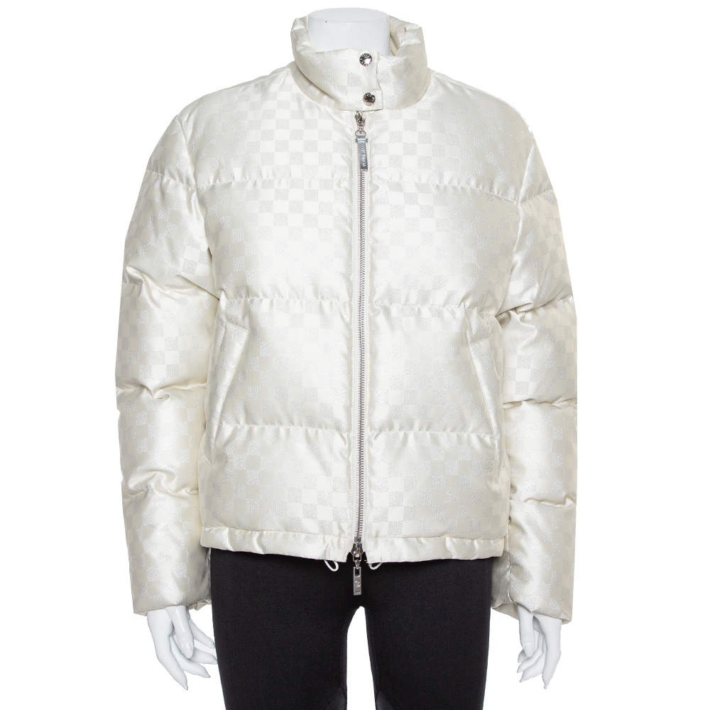 Louis Vuitton Cream Synthetic Down Puffer Jacket S