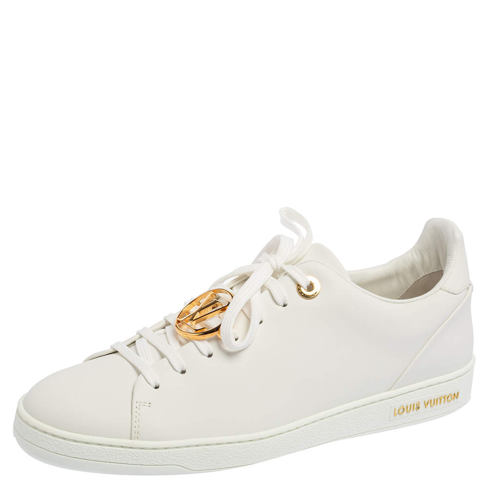 Louis Vuitton White Leather Frontrow Metal Logo Lace Up Sneakers Size 39