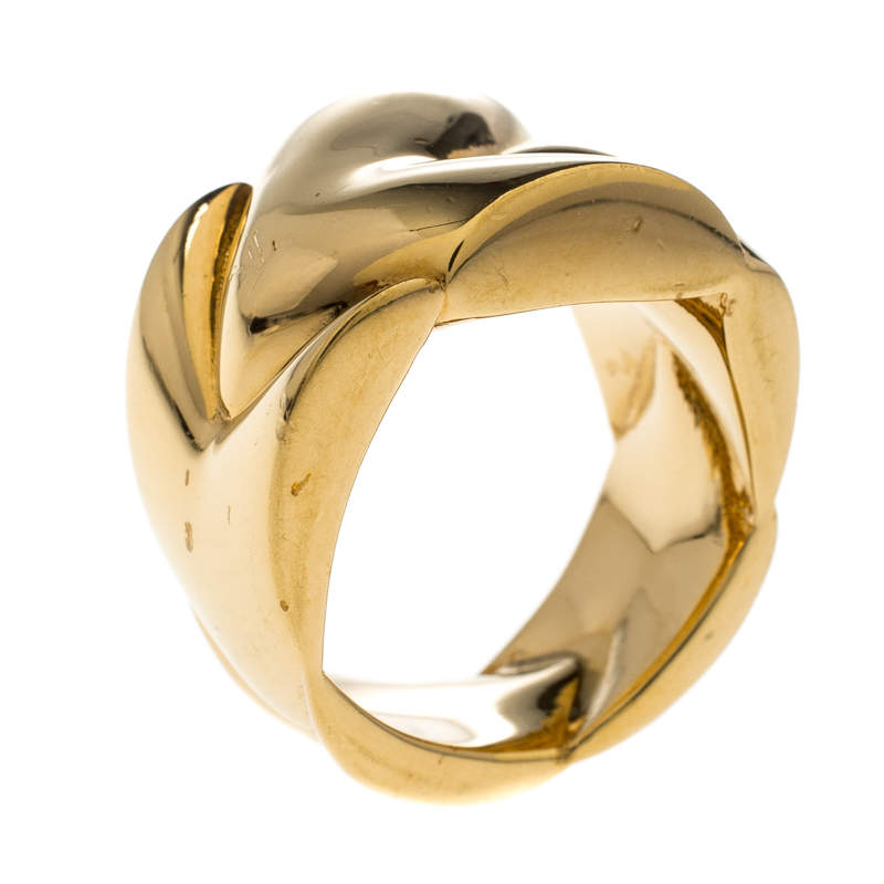 Louis Vuitton Gold Tone Chunky Ring Size 57