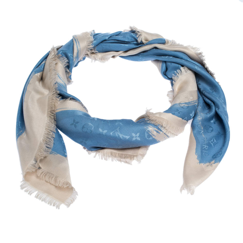 Louis Vuitton Blue Wool & Silk Monogram Arty Shawl