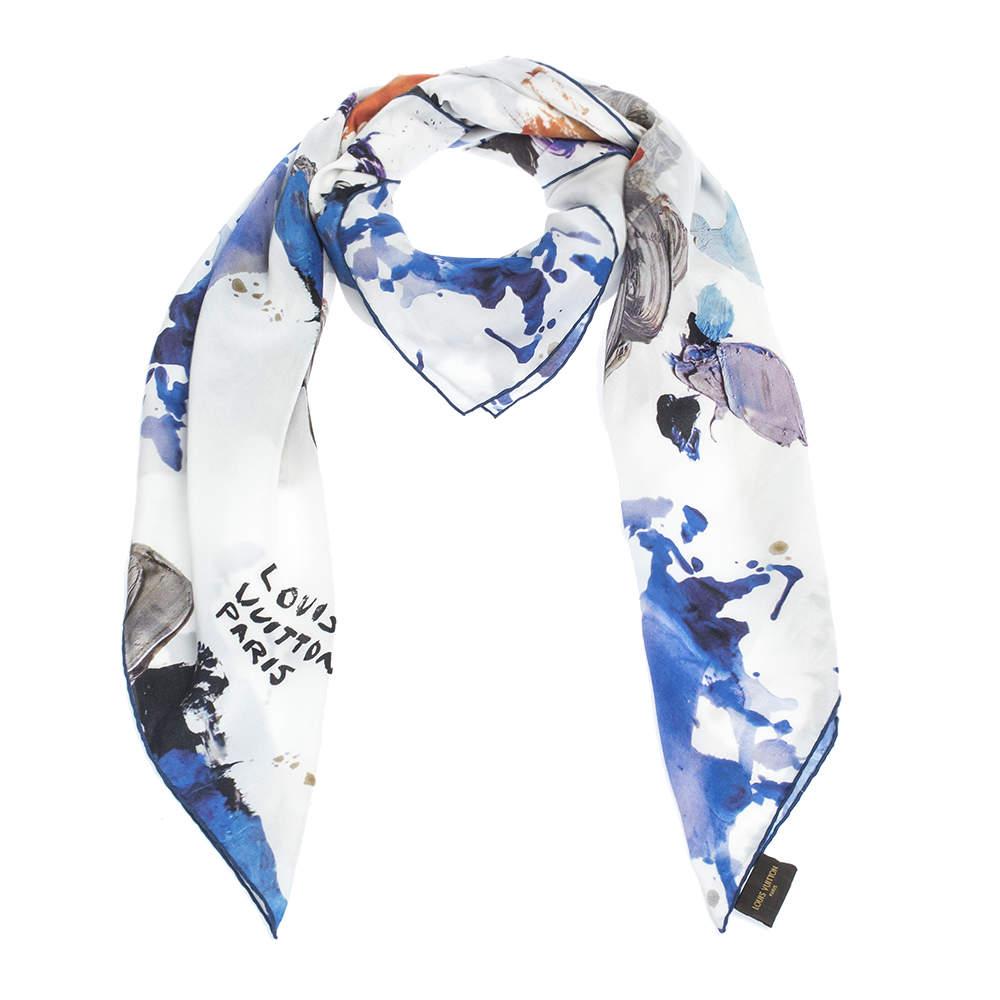 Louis Vuitton White Gouache Print Cotton Silk Square Scarf