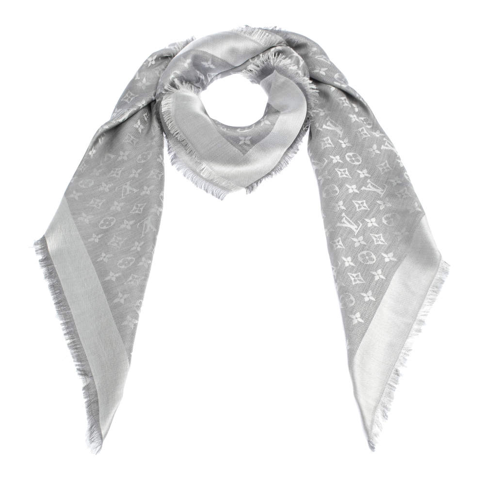 Louis Vuitton Pearl Grey Monogram Denim Shawl