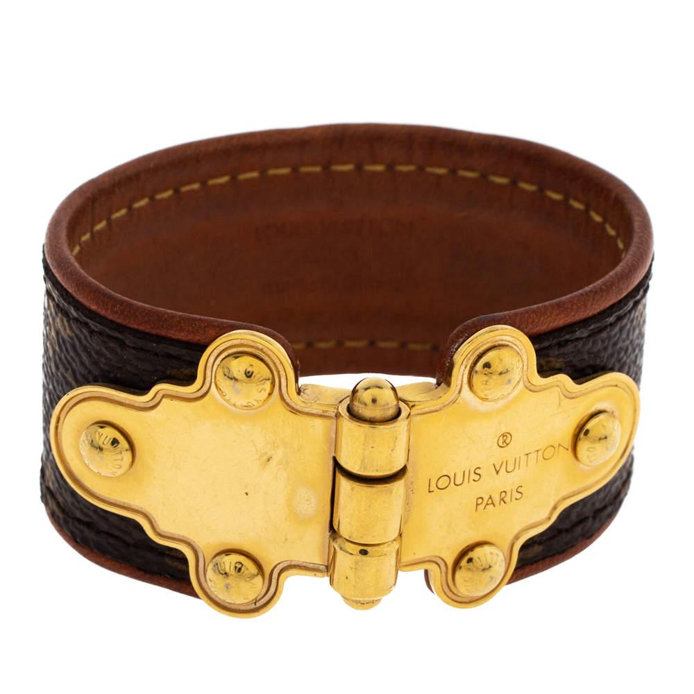 Louis Vuitton Save It Brown Monogram Canvas Wide Cuff Bracelet 18CM
