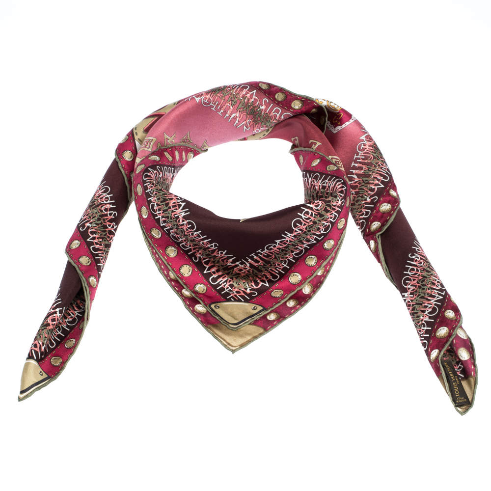 Louis Vuitton Burgundy Ombre Monogram Map Silk Square Scarf