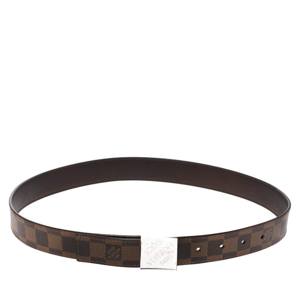 Louis Vuitton Damier Ebene Canvas Logo Buckle Belt 80CM