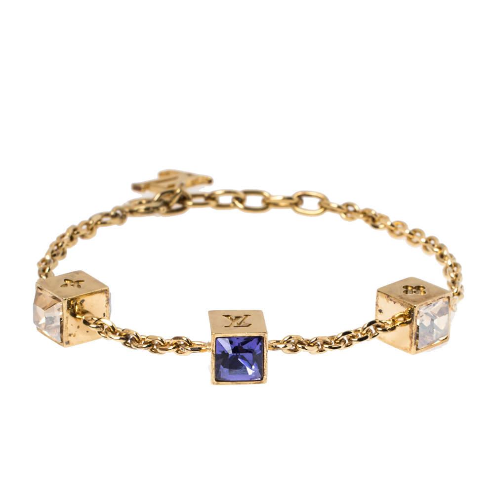 Louis Vuitton Gamble Crystal Gold Tone Bracelet