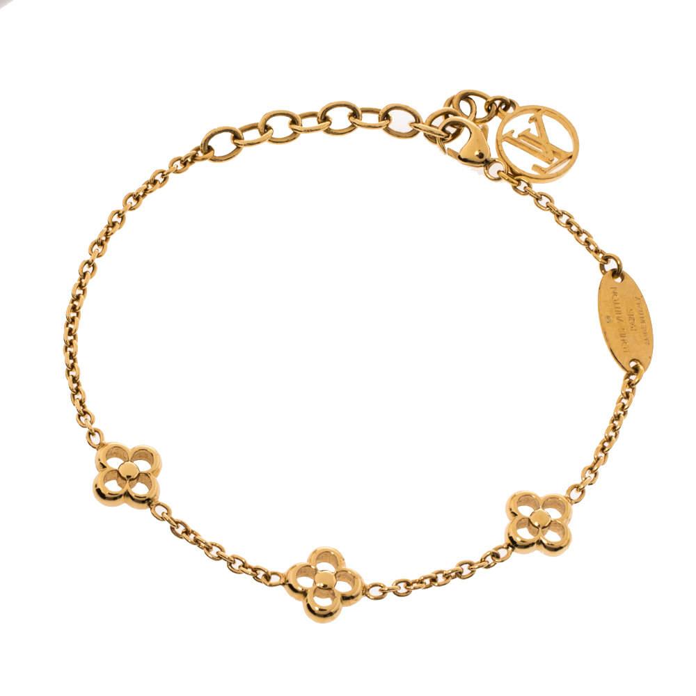 Louis Vuitton Flower Full Gold Tone Station Bracelet