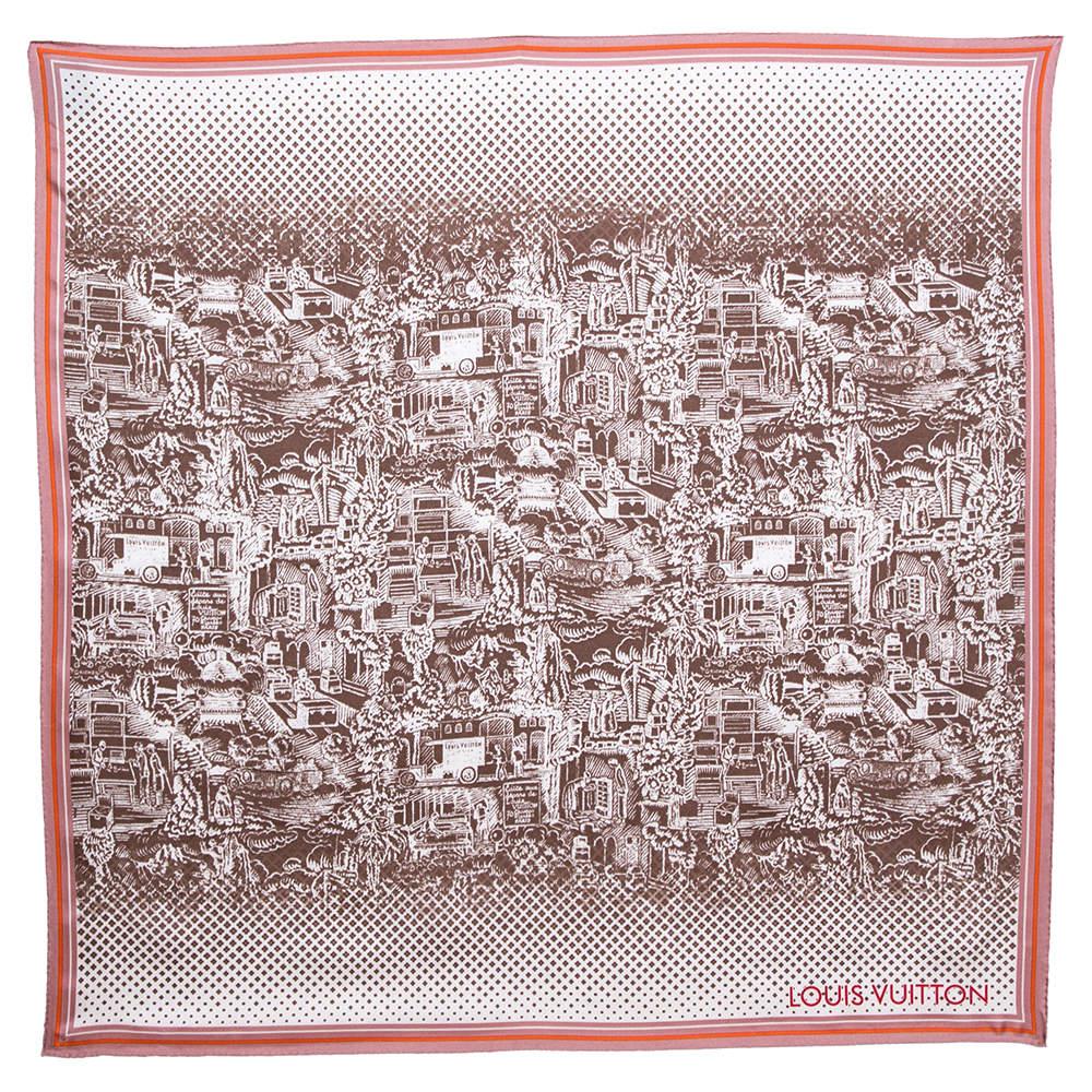 Louis Vuitton Brown & Pink Printed Silk Square Scarf