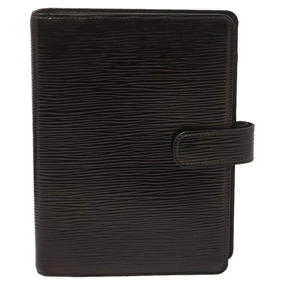 Louis Vuitton Black Epi Leather Medium Ring Agenda Cover