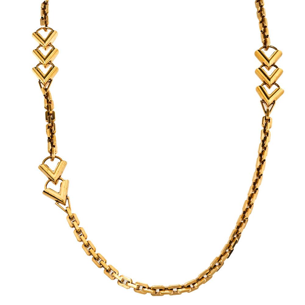 Louis Vuitton Gold Tone V Chain Sautoir Necklace