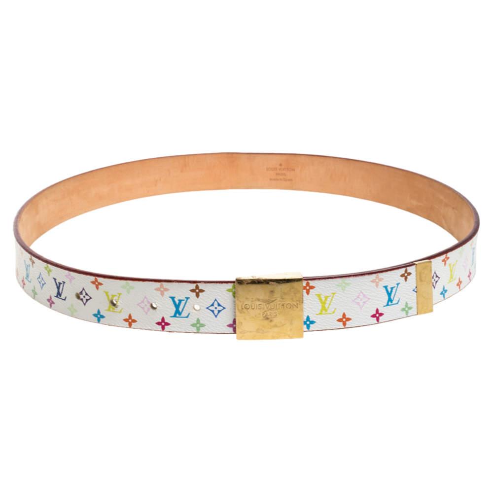 حزام لوي فيتون إبزيم كانفاس مونوغرامي متعدد الألوان أبيض 90 سم