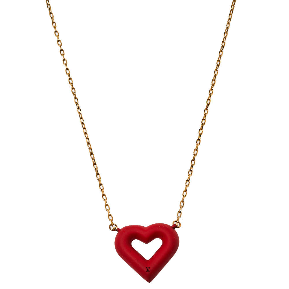 Louis Vuitton LV & V Red Heart Charm Gold Tone Necklace
