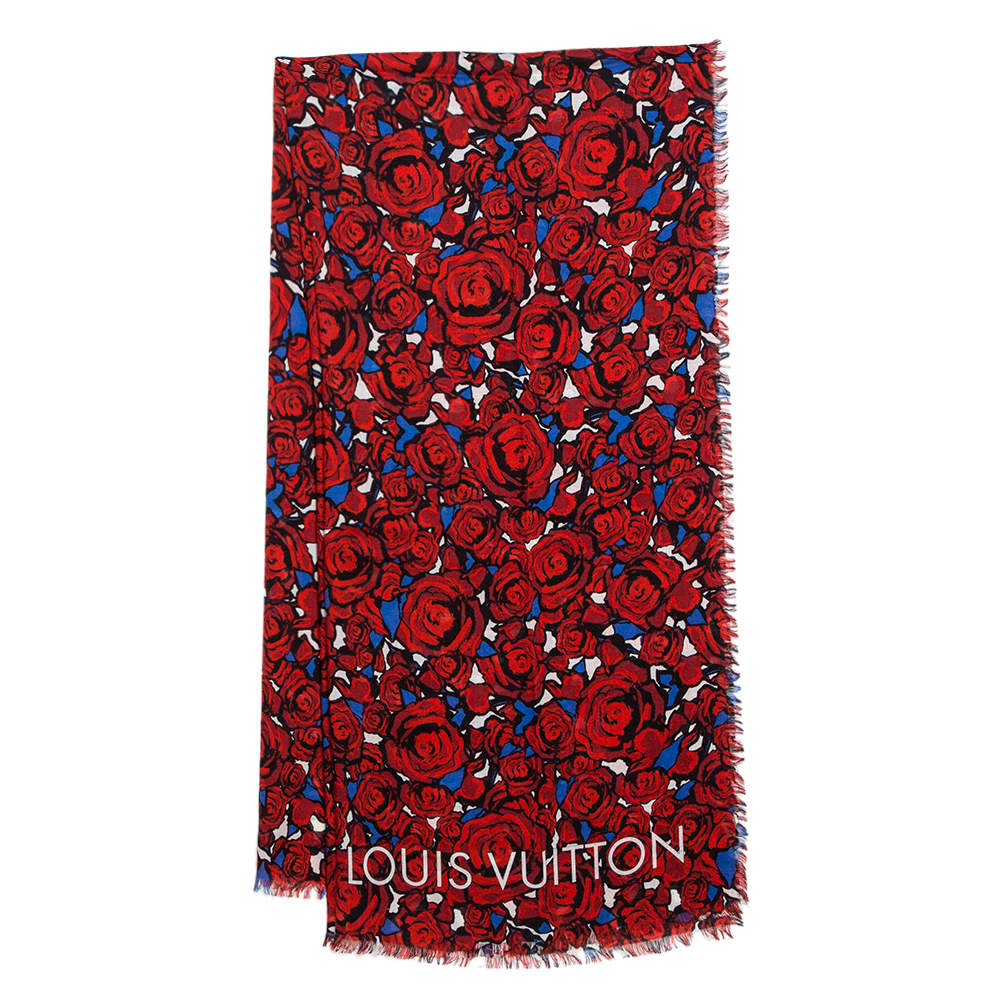 Louis Vuitton Red Silk Blend Rock N' Roses Stole