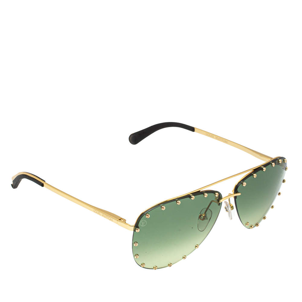 Louis Vuitton Studded Gold Tone/ Green Gradient Z1062U The Party Aviators Sunglasses